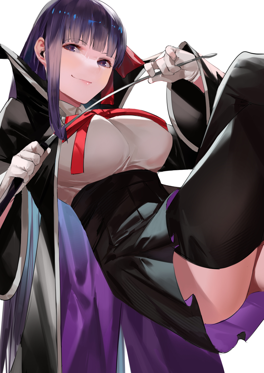 1girl bangs bb_(fate) bb_(fate)_(all) black_coat blazpu breasts coat fate/extra fate/extra_ccc fate_(series) gloves hair_ribbon high-waist_skirt highres holding holding_wand large_breasts leotard long_hair long_sleeves looking_at_viewer neck_ribbon open_clothes open_coat popped_collar purple_hair red_ribbon ribbon skirt smile very_long_hair violet_eyes wand white_gloves white_leotard