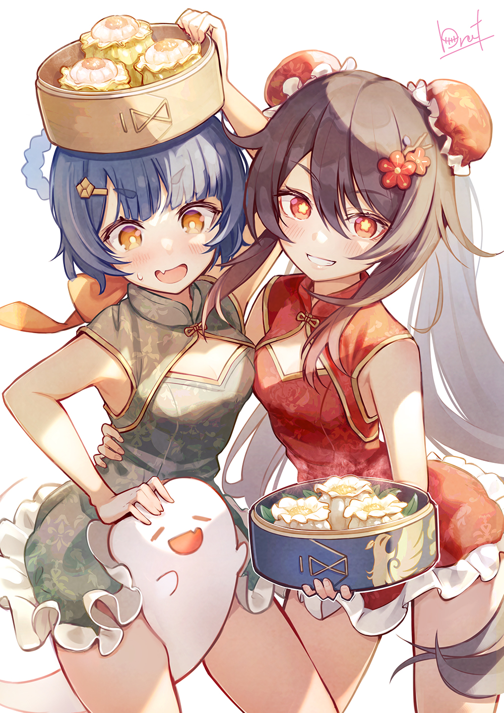 2girls bamboo_steamer bangs bare_shoulders blue_hair blush brat breasts brown_hair bun_cover china_dress chinese_clothes dim_sum double_bun dress genshin_impact ghost green_dress grin hair_ornament hair_rings hairclip highres hu_tao long_hair looking_at_viewer multiple_girls open_mouth red_dress red_eyes short_hair sleeveless sleeveless_dress small_breasts smile symbol-shaped_pupils thighs twintails very_long_hair xiangling_(genshin_impact) yellow_eyes