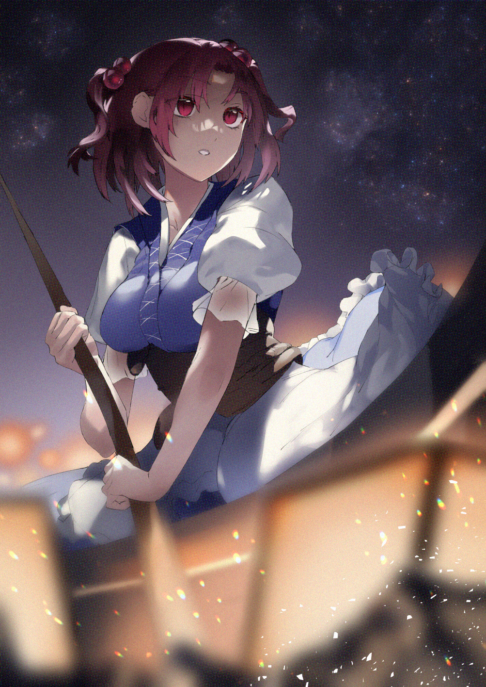 1girl asuzemu bangs blue_kimono blurry blurry_foreground boat breasts dress embers frilled_sleeves frills from_side hair_bobbles hair_ornament highres japanese_clothes kimono lantern layered_clothing looking_afar looking_ahead looking_to_the_side medium_breasts night night_sky onozuka_komachi paper_lantern parted_bangs parted_lips puffy_short_sleeves puffy_sleeves red_eyes redhead rowing short_hair short_sleeves skirt sky solo star_(sky) starry_sky touhou two_side_up watercraft white_dress white_skirt