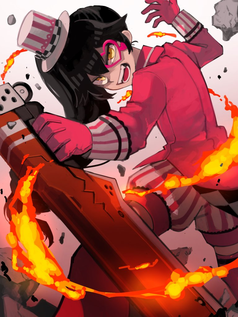 1girl black_hair borrowed_character commentary_request evil_smile fangs fire gloves heart holding holding_weapon katsuo_(raise_ha_maguro) lighter long_hair monocle open_mouth original puffy_shorts red_gloves shorts side_ponytail smile solo striped striped_shorts thigh-highs weapon yellow_eyes