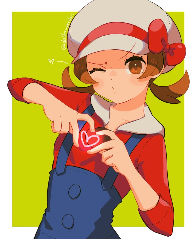 1girl artist_name blush border brown_eyes brown_hair closed_mouth collarbone commentary delta_nonbiri eyelashes green_background hands_up hat hat_ribbon heart heart_hands looking_at_viewer lyra_(pokemon) outside_border overalls pokemon pokemon_(game) pokemon_hgss red_ribbon red_shirt ribbon shirt sleeves_past_elbows solo twintails upper_body white_border white_headwear