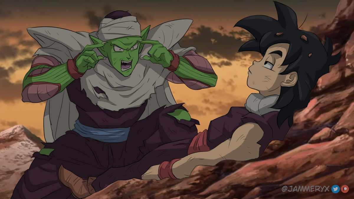2boys alien belt black_eyes black_hair blue_belt colored_skin colored_tongue dragon_ball dragon_ball_z english_commentary green_skin hair_behind_ear invincible_(series) jammeryx male_focus meme multiple_boys namekian open_mouth piccolo pointing pointing_at_self pointy_ears purple_tongue son_gohan think_mark_think!_(meme) torn_clothes