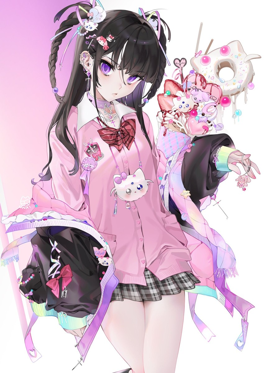 1girl bangs black_hair blush braid clothes_around_waist collared_shirt crossed_legs ear_piercing earrings eyebrows_visible_through_hair hair_ornament hair_ribbon hairpin jacket jacket_around_waist jewelry long_hair looking_at_viewer md5_mismatch microskirt miniskirt onegai_my_melody original pale_skin parfait piercing pink_sweater_vest red_neckwear resolution_mismatch ribbon shirt simple_background skirt solo source_larger standing twintails unxi violet_eyes violeta_(unxi)