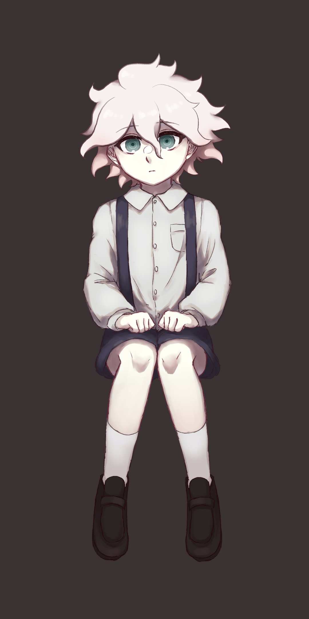 1boy bangs black_background black_footwear black_shorts breast_pocket child closed_mouth collared_shirt commentary_request danganronpa_(series) danganronpa_2:_goodbye_despair eyebrows_visible_through_hair full_body grey_eyes highres invisible_chair komaeda_nagito long_sleeves looking_at_viewer male_focus pocket shirt shoes shorts simple_background sitting socks solo suspender_shorts suspenders tetose white_hair white_legwear white_shirt younger