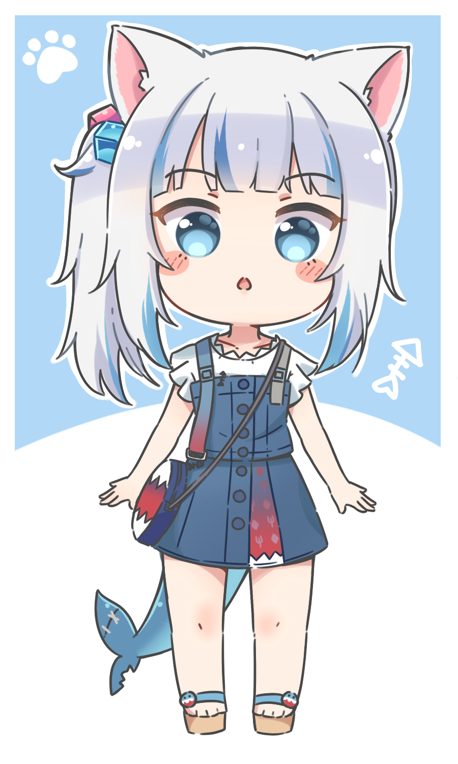 1girl :o animal_ear_fluff animal_ears bag bangs bare_arms blue_background blue_dress blue_eyes blue_hair blush_stickers brown_footwear cat_ears chibi commentary dress english_commentary eyebrows_visible_through_hair fish_tail full_body gawr_gura grey_hair hair_cubes hair_ornament highres hololive hololive_english looking_at_viewer multicolored_hair parted_lips rutorifuki sandals shark_tail shirt shoulder_bag side_ponytail sleeveless sleeveless_dress solo standing streaked_hair tail two-tone_background virtual_youtuber white_background white_shirt