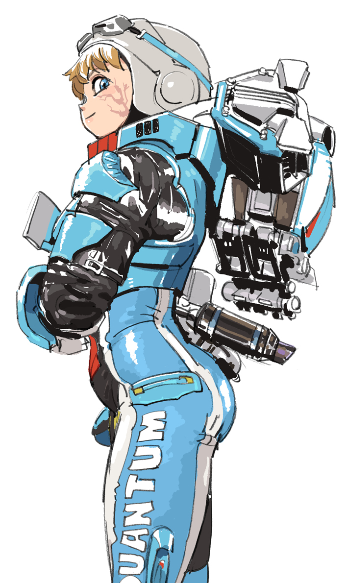 1girl apex_legends backpack bag bangs blonde_hair blue_bodysuit blue_eyes bodysuit crossed_arms from_side goggles goggles_on_headwear helmet lichtenberg_figure looking_at_viewer power_armor scar scar_on_cheek scar_on_face science_fiction smile solo wattson_(apex_legends) white_background white_headwear wired_for_speed_wattson yuta_agc