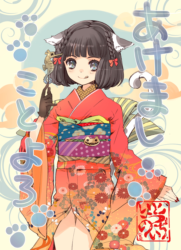 1girl :q akeome animal_ears black_gloves black_hair bow braid cat_ears cat_tail closed_mouth copyright_request fingernails food gloves gradient_kimono grey_eyes hair_bow happy_new_year ito_noizi japanese_clothes kimono looking_at_viewer nail_polish new_year obi orange_kimono photoshop_(medium) red_bow red_neckwear sash seahorse short_hair single_glove slit_pupils smile solo tail tongue tongue_out