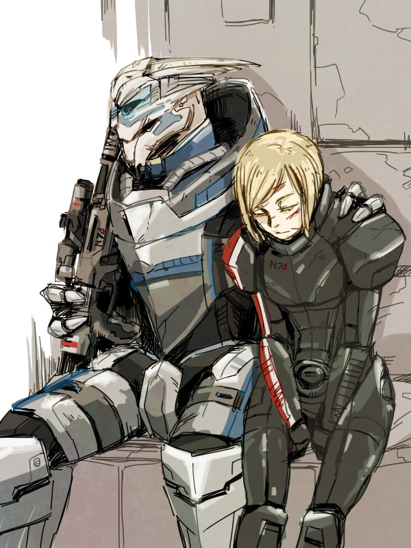 1boy 1girl alien armor blonde_hair blood blood_on_face closed_eyes commander_shepard commander_shepard_(female) cuts garrus_vakarian gun hand_on_another's_shoulder hetero holding holding_gun holding_weapon hugo_(coconomi) injury interspecies mass_effect monocle n7_armor open_mouth rifle science_fiction short_hair sniper_rifle turian weapon