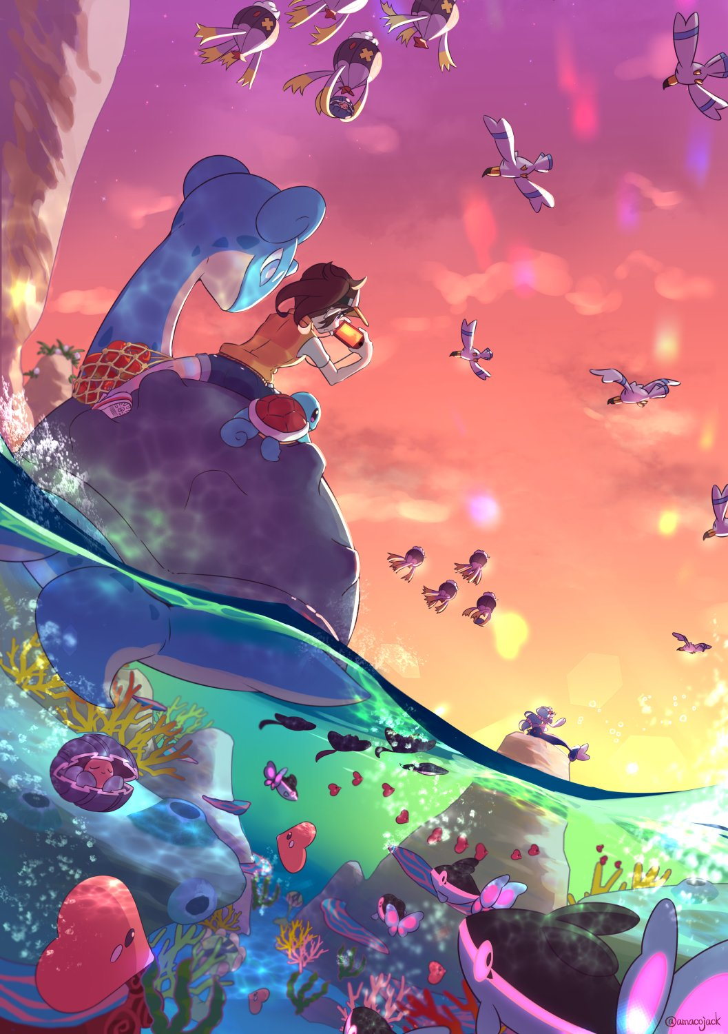1girl air_bubble amaco_(amacoworklove) brown_hair bubble camera clamperl clouds commentary_request coral drifblim finneon gen_1_pokemon gen_2_pokemon gen_3_pokemon gen_4_pokemon gen_7_pokemon hands_up highres holding holding_camera lapras luvdisc mantine new_pokemon_snap outdoors partially_underwater_shot pokemon pokemon_(creature) primarina riding_pokemon river_(pokemon) shoes short_sleeves shorts sky squirtle taking_picture twilight visor_cap wingull