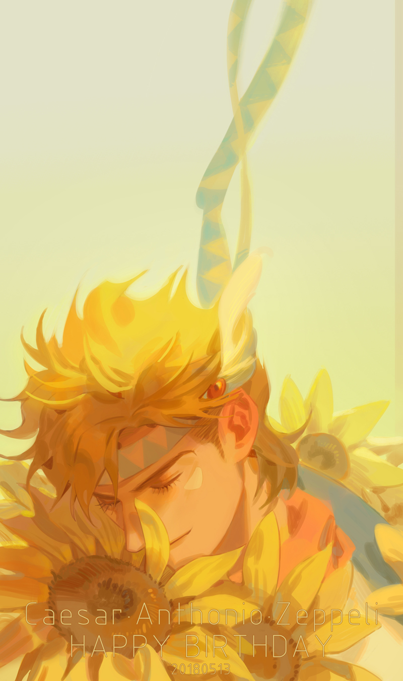 1boy battle_tendency birthday blonde_hair caesar_anthonio_zeppeli character_name chinese_commentary closed_eyes closed_mouth commentary_request dated eyelashes facial_mark feathers flower hair_feathers handsomedao happy_birthday headband highres jojo_no_kimyou_na_bouken light_smile male_focus scarf short_hair solo sunflower triangle_print yellow_flower yellow_theme