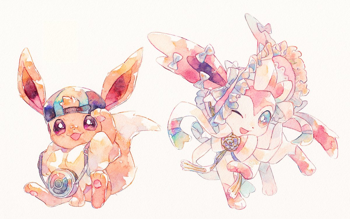 backwards_hat bag baseball_cap eevee gen_1_pokemon gen_6_pokemon hat hatted_pokemon looking_at_viewer no_humans oharu-chan one_eye_closed open_mouth paws pokemon pokemon_(creature) smile standing sylveon toes white_background