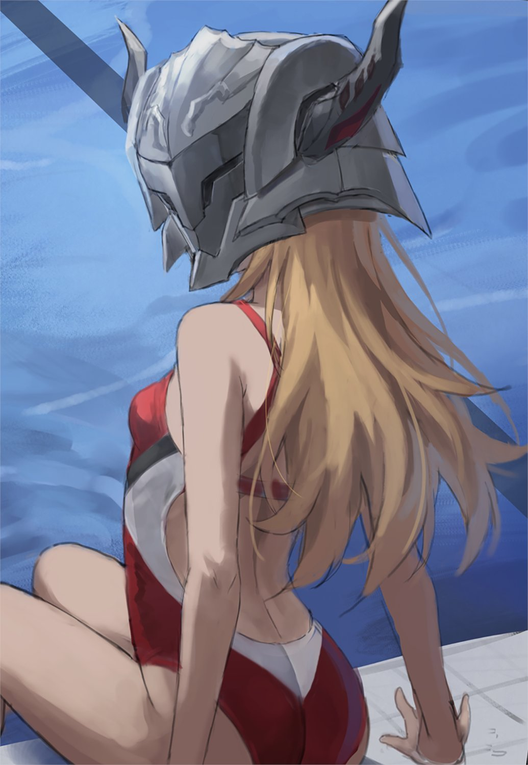 1girl ass blonde_hair breasts competition_swimsuit fate/apocrypha fate_(series) from_behind helmet highres long_hair looking_at_viewer looking_back mordred_(fate) mordred_(fate)_(all) one-piece_swimsuit poolside red_swimsuit sitting small_breasts solo swimsuit tonee water