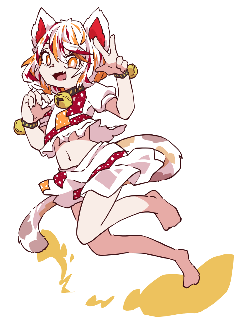 1girl animal_ears bell calico cat_ears cat_tail claw_pose goutokuji_mike lana151 leg_up midriff multicolored_hair neck_bell open_mouth orange_eyes patches shirt shorts tail touhou w white_background white_shirt white_shorts