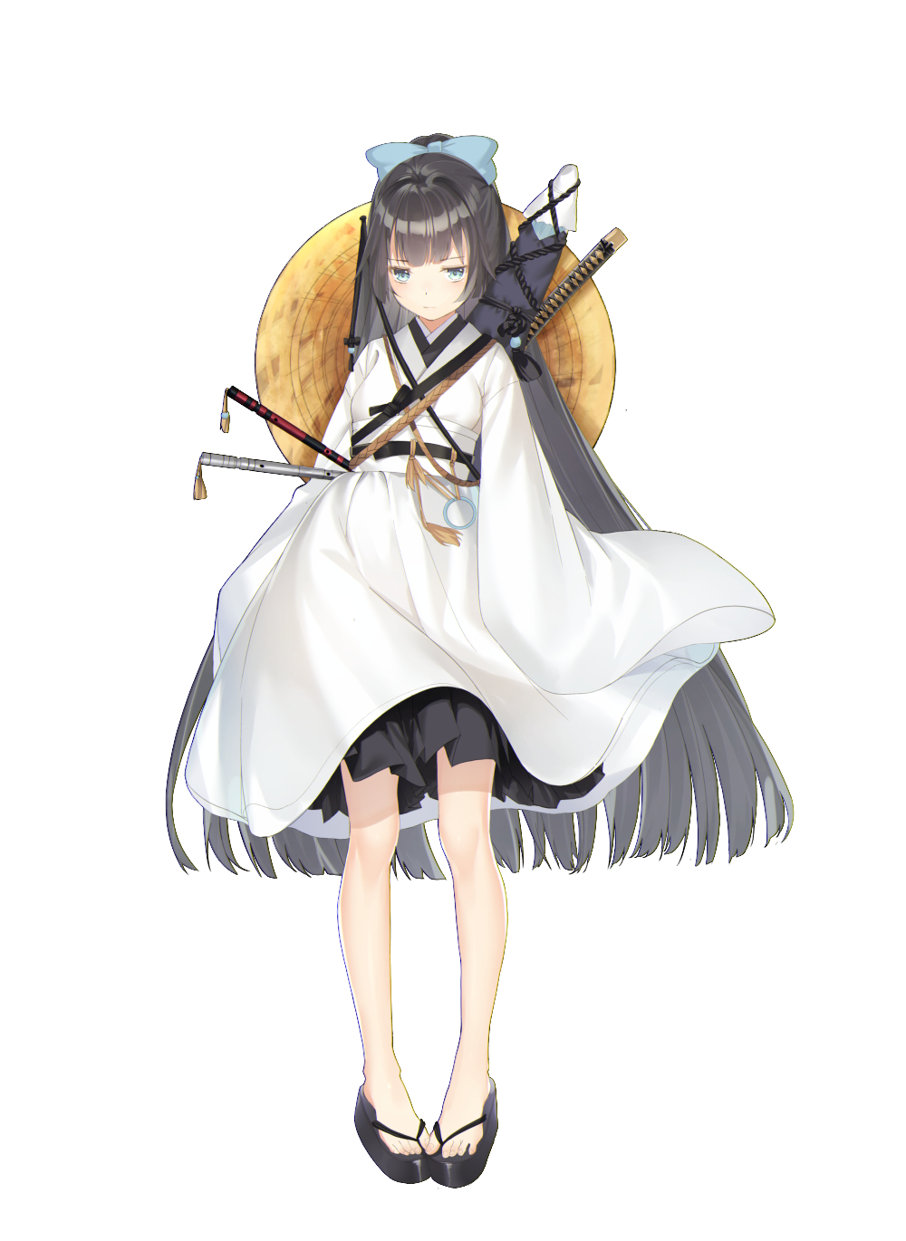1girl black_hair blue_bow blue_eyes blush bow character_request closed_mouth dhfz181 flute hair_bow hat hat_removed headwear_removed highres instrument japanese_clothes katana light_blush long_hair long_sleeves original rope sheath sheathed simple_background sleeves_past_fingers sleeves_past_wrists solo sword toenails touken_ranbu very_long_hair weapon weapon_on_back white_background wide_sleeves