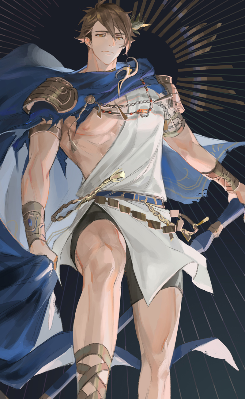 1boy 77ho armlet armor bike_shorts blue_capelet bracer brooch brown_eyes brown_hair cane cape cape_grab capelet chain closed_mouth feet_out_of_frame floating_cape foot_up gladiator_sandals hair_ornament highres holding holding_cane idolish_7 jewelry light_smile looking_at_viewer male_focus nipples official_alternate_costume pauldrons pectorals sandals short_hair shoulder_armor sleeveless solo toned toned_male torn_cape torn_clothes tsunashi_ryuunosuke tunic