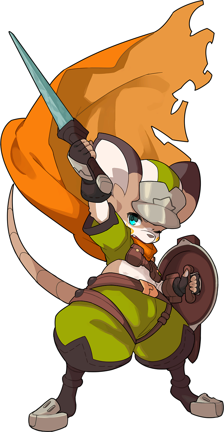 1boy animal_ears animal_nose arm_up armored_boots artist_request belt black_footwear black_gloves blue_eyes body_fur boots brown_fur cabbie_hat crop_top facial_mark fang fingerless_gloves full_body furry gloves green_pants green_shirt hand_up hat highres holding holding_shield holding_sword holding_weapon legs_apart male_focus midriff mouse_boy mouse_ears mouse_tail multicolored multicolored_clothes multicolored_headwear non-web_source official_art one_eye_closed open_mouth orange_scarf pants pouch scarf sheath shield shirt short_sleeves snout solo standing sven_(world_flipper) sword tail transparent_background two-tone_fur weapon white_fur world_flipper