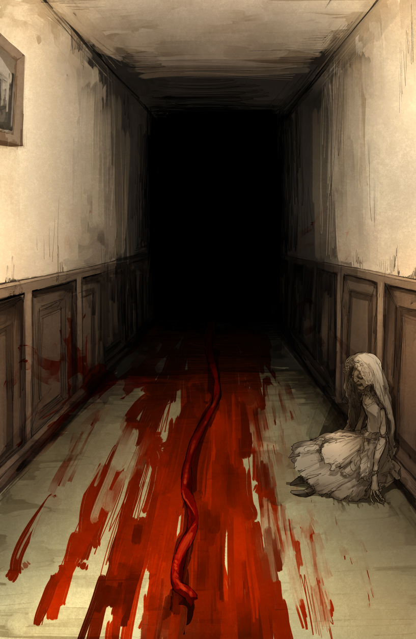 blood blood_trail dark doll hallway highres horror_(theme) kan_(aaaaari35) no_humans painting_(object) resident_evil resident_evil_village umbilical_cord