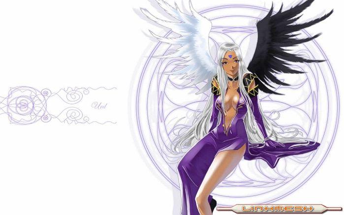 1girl aa_megami-sama black_wing long_hair tanned_skin urd wings woman