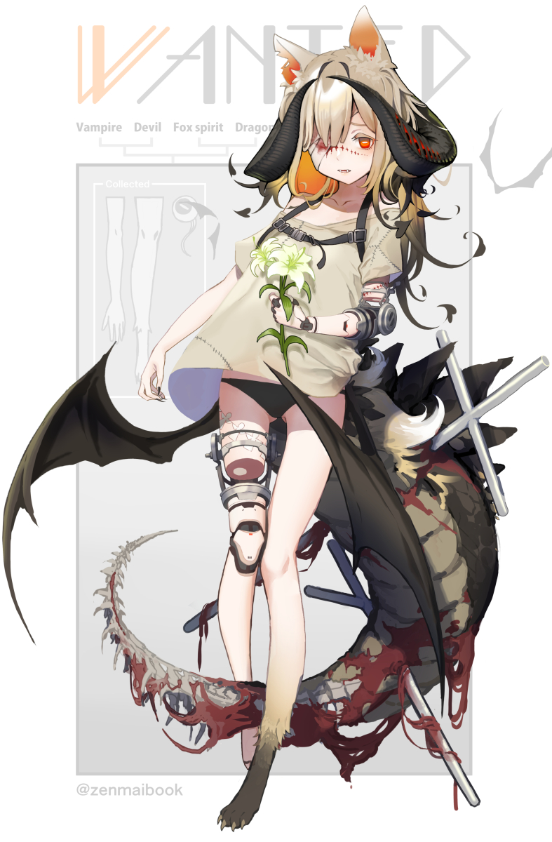 1girl amputee animal_ears bandage_over_one_eye bat_wings black_hair black_panties blonde_hair chimera collarbone colored_inner_hair commentary_request cross dragon_horns dragon_tail fangs fingernails flower fox_ears fox_tail full_body gradient_hair highres horns impaled long_fingernails monster_girl multicolored_hair original panties paws prosthesis prosthetic_arm prosthetic_leg red_eyes shirt solo stitches t-shirt tail underwear vampire wings zenmaibook