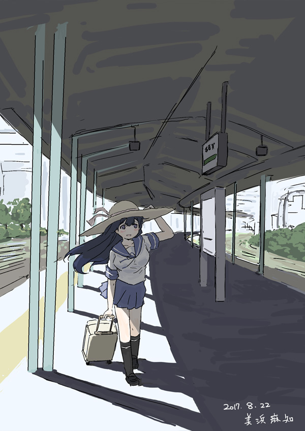 1girl bangs black_footwear black_hair black_legwear blue_eyes blue_ribbon blue_sailor_collar blue_skirt blurry blurry_background commentary_request dated hair_between_eyes hat holding holding_clothes holding_hat holding_suitcase kantai_collection light_blush long_hair mihama_machi one-hour_drawing_challenge open_mouth pleated_skirt railroad_tracks ribbon sailor_collar school_uniform serafuku shadow shoes short_sleeves signature skirt smile socks solo suitcase train_station train_station_platform tree ushio_(kancolle) wind wind_lift