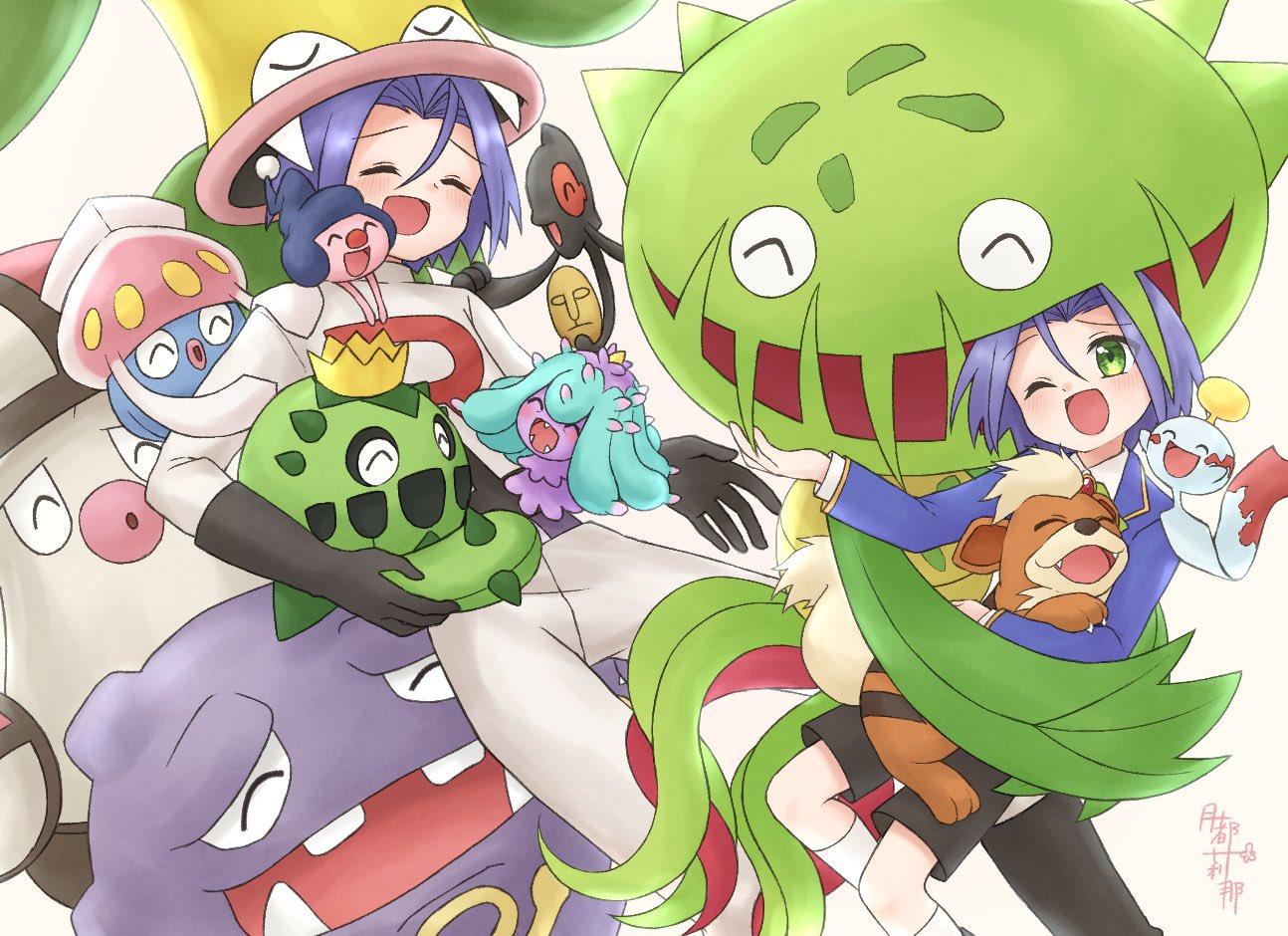 cacnea carnivine chimecho gen_1_pokemon gen_3_pokemon gen_4_pokemon gen_6_pokemon growlithe inkay james_(pokemon) mime_jr. pokemon pokemon_(anime) pokemon_(creature) tsukino_mi victreebel weezing