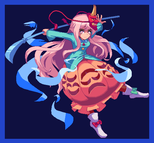1girl bangs blue_background blue_bow blue_jacket blue_sleeves boots bow closed_mouth hands_up hata_no_kokoro jacket long_hair long_sleeves mask pink_bow pink_eyes pink_hair pink_skirt pixel_art potemki11 skirt solo touhou white_footwear