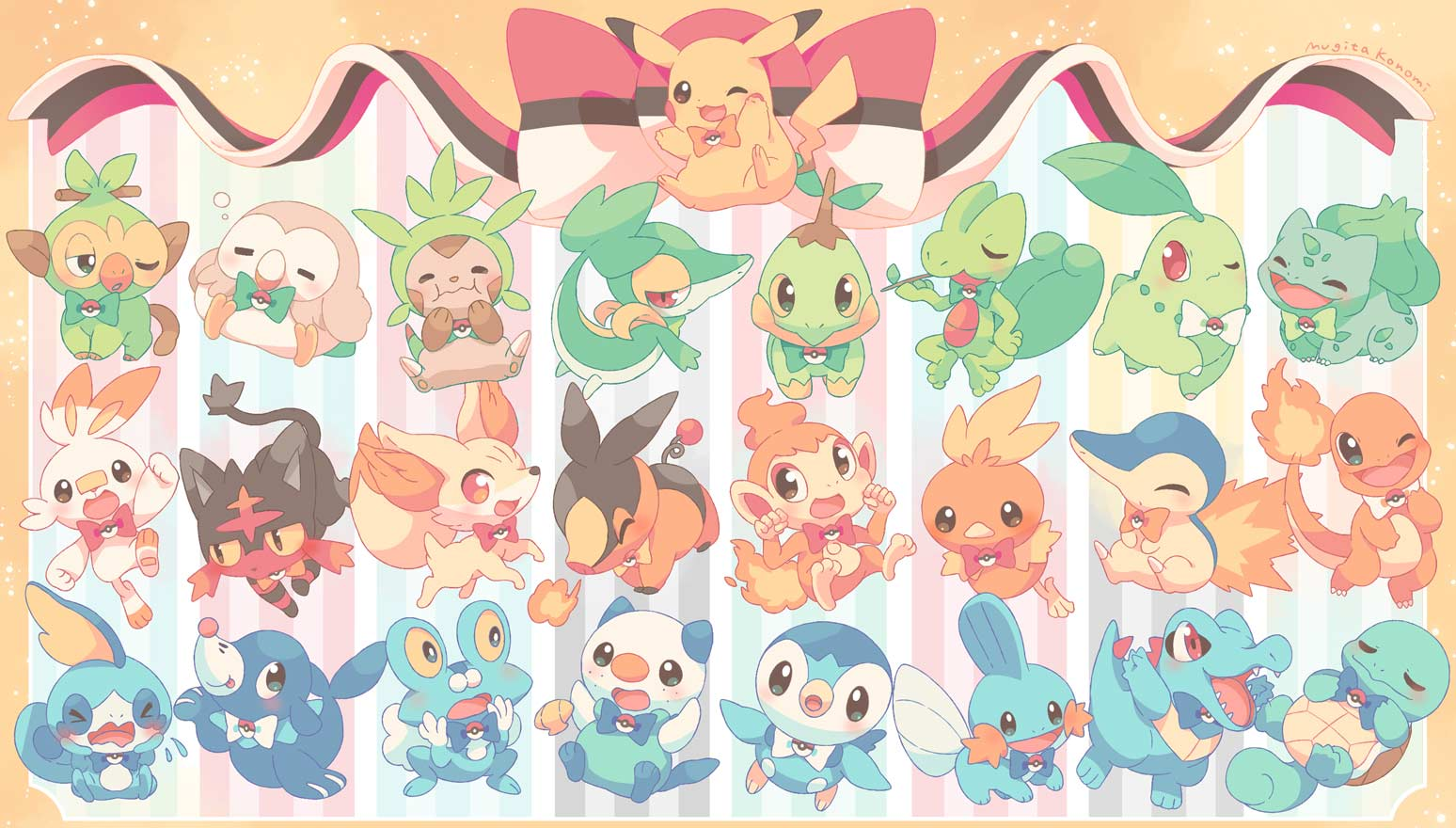 >_< :i :p ;d arm_up blush bow bowtie brown_eyes bubble bulbasaur charmander chespin chikorita chimchar clenched_hands closed_eyes closed_mouth colored_sclera commentary_request creature crying cyndaquil eating fennekin fire froakie gen_1_pokemon gen_2_pokemon gen_3_pokemon gen_4_pokemon gen_5_pokemon gen_6_pokemon gen_7_pokemon gen_8_pokemon green_eyes green_neckwear grookey hands_up happy jippe litten looking_at_viewer looking_to_the_side mouth_hold mudkip no_humans one_eye_closed open_mouth oshawott pikachu piplup pokemon pokemon_(creature) popplio red_eyes rowlet scorbunny seashell shell sitting sleepy smile snivy sobble squirtle starter_pokemon stick tepig toes tongue tongue_out torchic totodile treecko turtwig wavy_mouth white_neckwear yellow_sclera |d