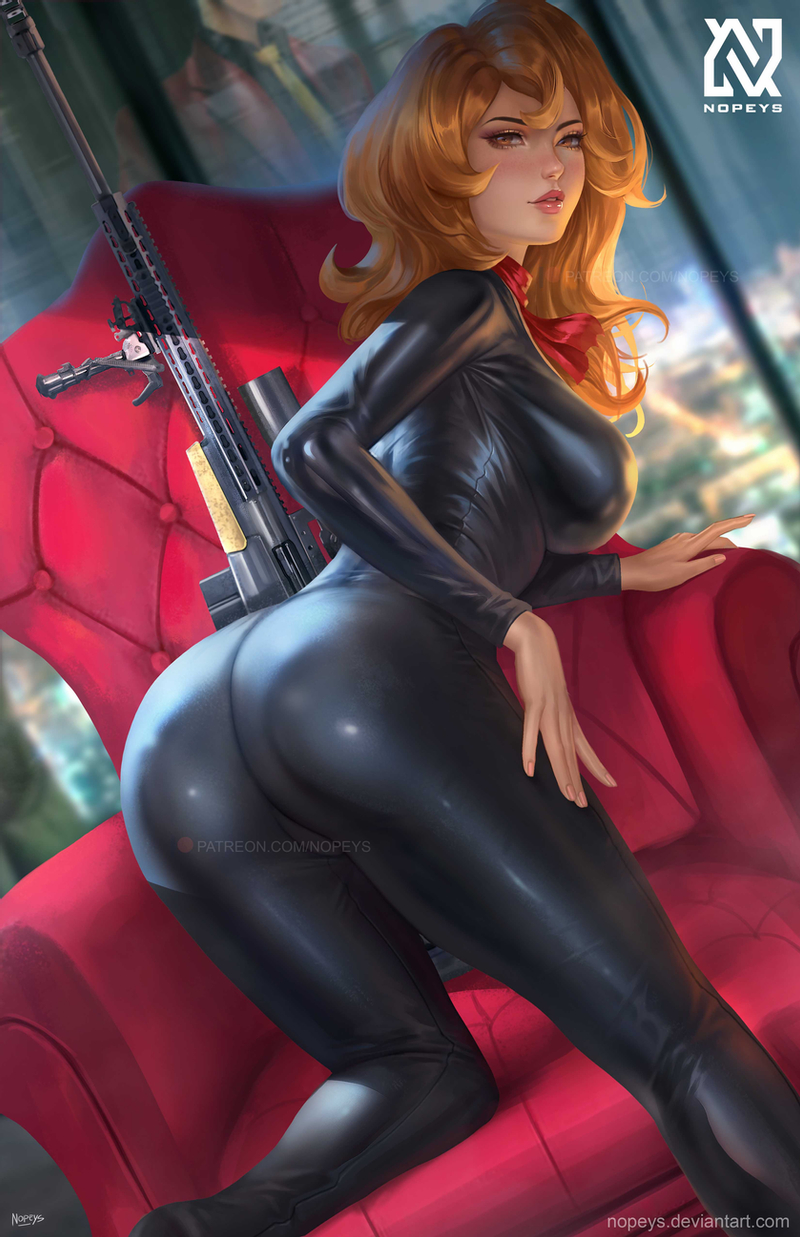1girl ass black_bodysuit blurry blurry_background bodysuit breasts brown_eyes brown_hair city city_lights dutch_angle gun highres large_breasts latex_bodysuit lips long_hair looking_at_viewer lupin_iii mine_fujiko night norman_de_mesa rifle shiny shiny_clothes sniper_rifle solo weapon window