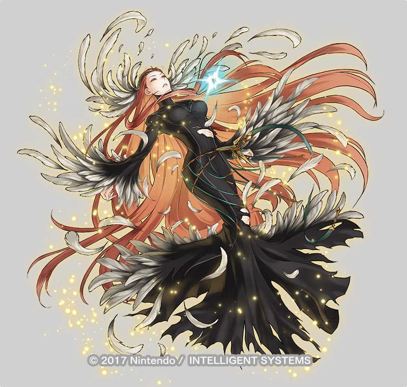 1girl ashera_(fire_emblem) attack belly_chain black_dress closed_mouth dress feather_hair_ornament feathers fire_emblem fire_emblem:_radiant_dawn fire_emblem_heroes full_body hair_ornament jewelry kita_senri long_hair magic official_art outstretched_arms red_eyes redhead torn_clothes
