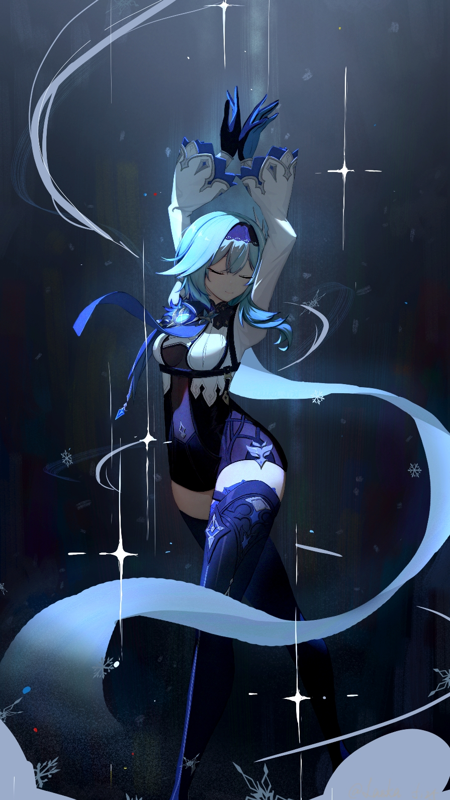 1girl arms_up bangs black_footwear black_gloves black_hairband blue_gloves blue_hair blue_legwear blue_neckwear bodystocking boots breasts cape closed_eyes closed_mouth eula_lawrence genshin_impact gloves hair_ornament hairband highres laska_(572124034) long_sleeves medium_breasts medium_hair multicolored multicolored_clothes multicolored_gloves necktie snowflakes solo sparkle_background standing thigh-highs thigh_boots thigh_strap thighs vision_(genshin_impact)