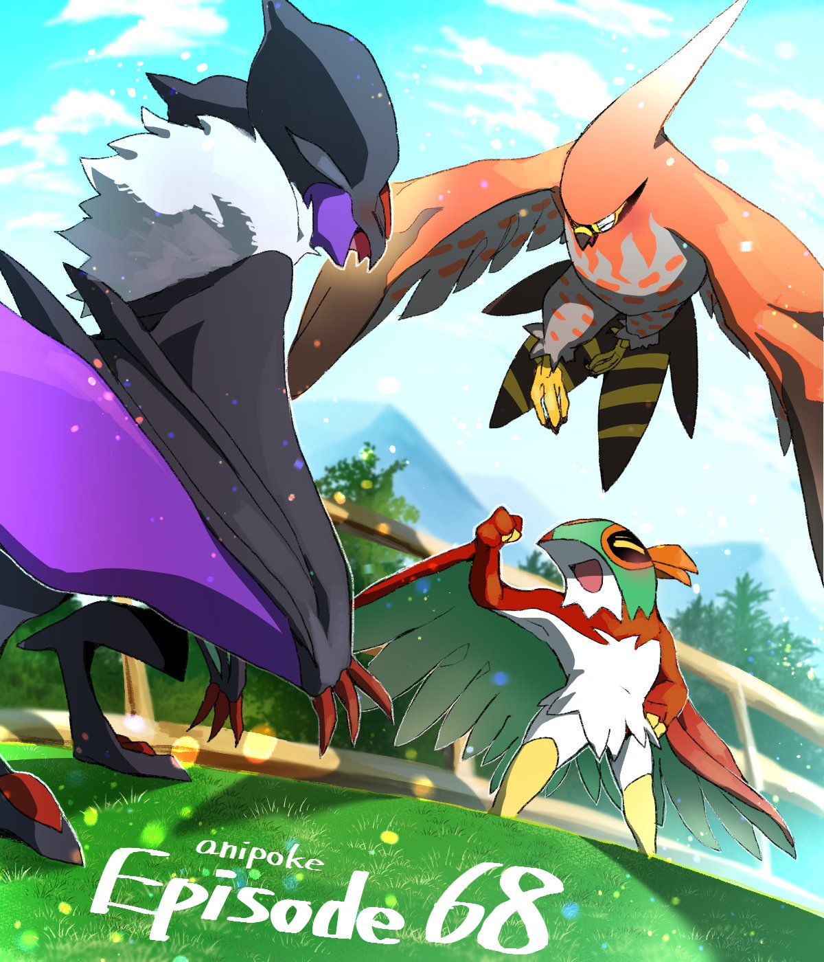 bird clouds commentary_request day fence from_below gen_6_pokemon grass harvest88 hawlucha highres mountainous_horizon no_humans noivern number open_mouth outdoors pokemon pokemon_(creature) sky smile standing talonflame tongue  d