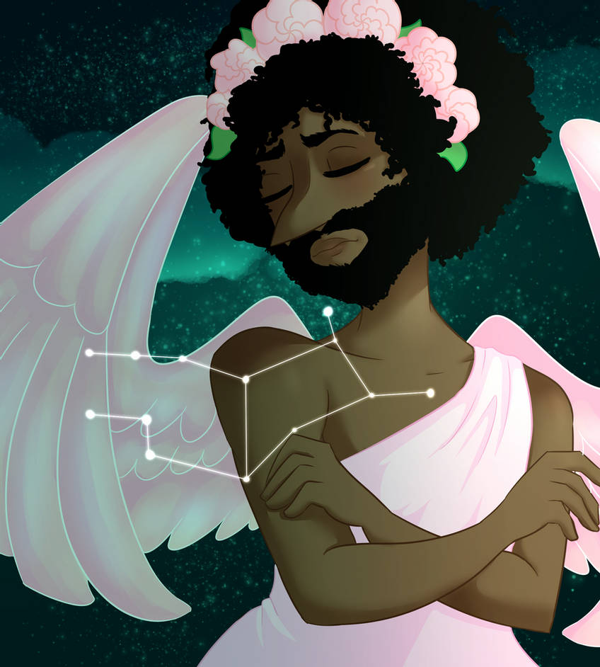 1boy angel angel_wings astrology beard black_hair closed_eyes constellation criaha crossed_arms curly_hair dark-skinned_male dark_skin facial_hair feathered_wings flower greek_clothes green_background hair_flower hair_ornament head_tilt head_wreath long_nose looking_to_the_side night night_sky pink_flower pink_rose pointy_nose poptropica portrait ringmaster_raven robe rose sad sky solo star_(sky) toga virgo wings