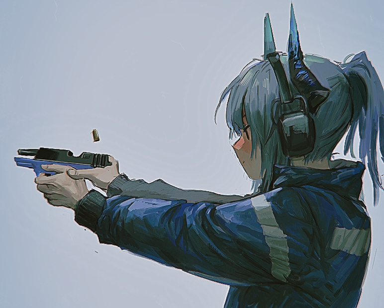 1girl arknights blue_jacket chinese_commentary deatiose dragon_horns firing grey_background grey_hair gun handgun headphones holding holding_gun holding_weapon horns jacket liskarm_(arknights) long_hair ponytail shell_casing solo upper_body weapon