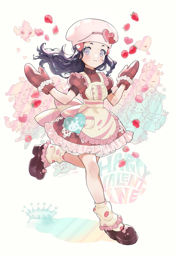 1girl alcremie alcremie_(strawberry_sweet) apron audino black_hair blush brown_footwear burakku_mutou buttons chansey chef_hat clefairy closed_mouth commentary_request corsola dawn_(pokemon) dress eyelashes floating_hair food frills fruit gen_1_pokemon gen_2_pokemon gen_3_pokemon gen_5_pokemon gen_6_pokemon gen_8_pokemon grey_eyes happy_valentine hat hatenna jigglypuff lickitung long_hair looking_at_viewer luvdisc oven_mitts pokemon pokemon_(game) pokemon_masters_ex red_dress red_mittens shoes short_sleeves skitty smile spritzee strawberry swirlix sylveon valentine white_headwear yellow_apron