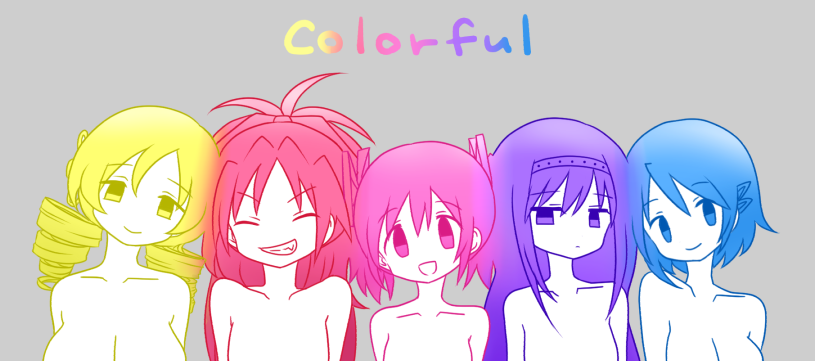 5girls akemi_homura arms_at_sides bangs blonde_hair blue_eyes blue_hair blue_outline breasts clenched_teeth close-up closed_eyes closed_mouth collarbone colorful drill_hair english_text eyebrows_visible_through_hair facing_viewer fang flat_chest gradient grey_background grin hair_between_eyes hair_ornament hair_ribbon hairband hairclip half-closed_eyes happy head_tilt huge_breasts jitome kaname_madoka light_smile lineup long_hair looking_at_viewer mahou_shoujo_madoka_magica medium_breasts miki_sayaka multiple_girls no_nose nude open_mouth outline parted_bangs pink_eyes pink_hair pink_outline pokki_(sue_eus) purple_hair purple_outline red_outline redhead ribbon sakura_kyouko serious short_hair sideways_glance simple_background smile tareme teeth text_focus tomoe_mami tsurime twin_drills twintails upper_body v-shaped_eyebrows violet_eyes yellow_eyes yellow_outline
