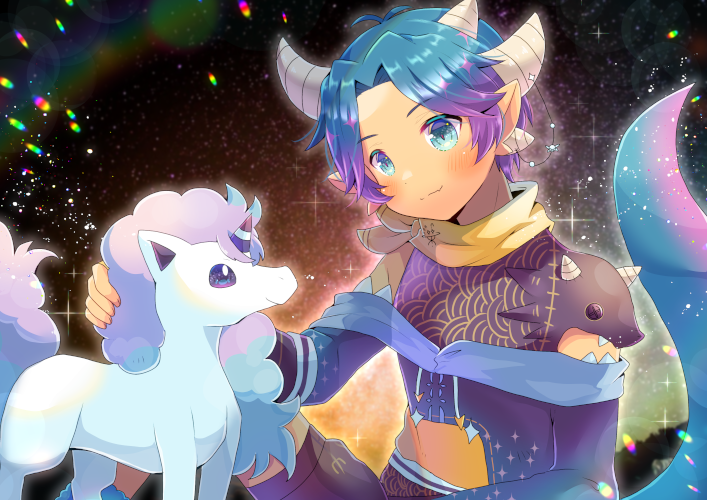 1boy bangs black_shirt black_shorts blue_eyes blue_hair blush closed_mouth commentary_request crossover dragon_boy dragon_horns dragon_tail galarian_form galarian_ponyta gen_8_pokemon gradient_hair horns indie_virtual_youtuber kouu_hiyoyo long_sleeves multicolored_hair multiple_horns parted_bangs pocopico pointy_ears pokemon pokemon_(creature) purple_hair shirt short_shorts shorts sitting smile tail