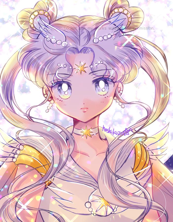 1girl bangs bishoujo_senshi_sailor_moon brooch cape choker closed_mouth earrings expressionless facial_mark forehead_mark full_moon hair_ornament hairpin heart_hair_bun hoshikuzu_(milkyway792) jewelry lips long_hair looking_at_viewer magical_girl moon multicolored multicolored_eyes parted_bangs sailor_collar sailor_cosmos sailor_senshi_uniform solo star_(symbol) star_choker star_facial_mark twintails white_eyes white_hair white_neckwear white_sailor_collar yellow_eyes