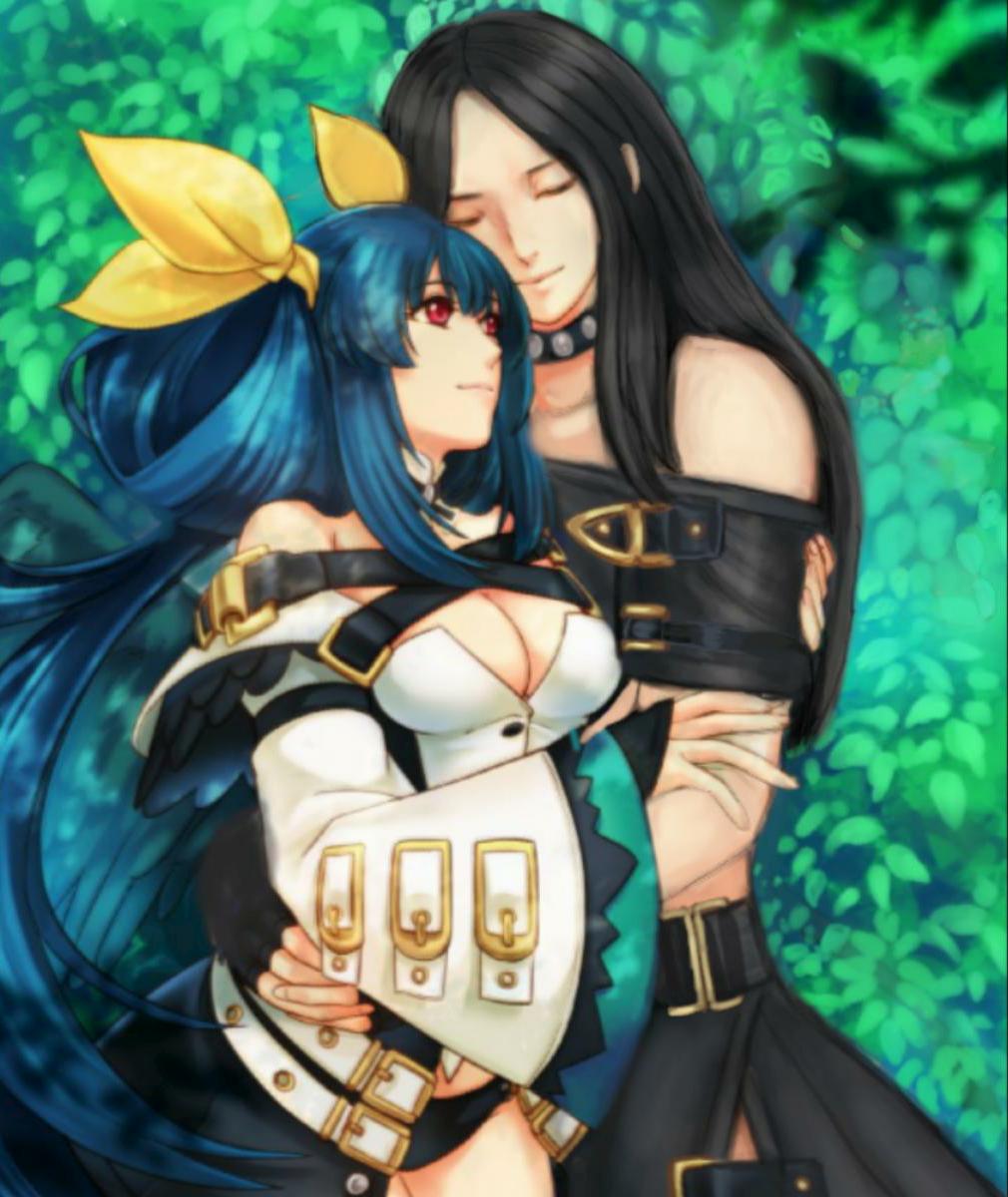 black_hair blue_hair couple dizzy_(guilty_gear) guilty_gear guilty_gear_xrd guilty_gear_xx happy hug red_eyes testament_(guilty_gear) wings