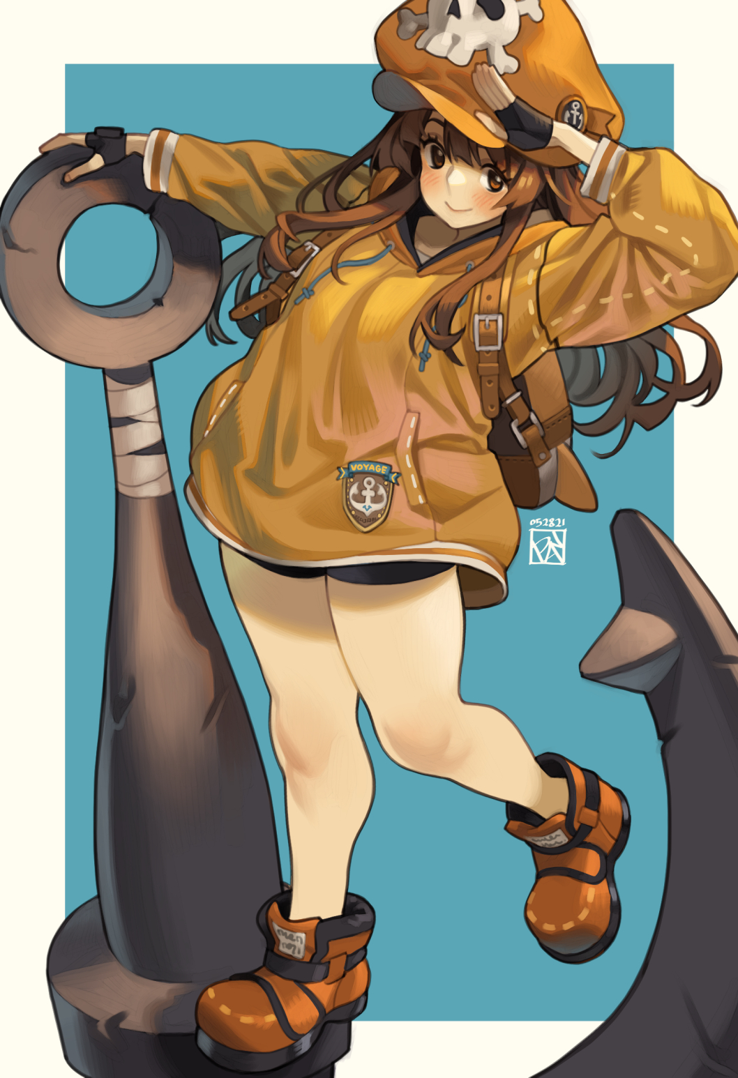 1girl anchor anchor_symbol backpack bag bare_legs bike_shorts black_gloves blue_background brown_eyes brown_hair cabbie_hat dated duplicate fingerless_gloves gloves guilty_gear guilty_gear_strive hat highres jacket long_hair may_(guilty_gear) orange_headwear orange_jacket pirate pirate_hat pixel-perfect_duplicate poch4n salute signature skull_and_crossbones smile solo thick_thighs thighs