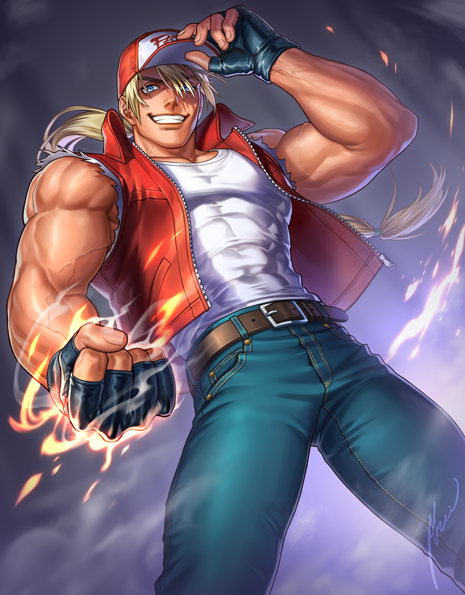1boy abs arm_up bangs bare_shoulders baseball_cap biceps blonde_hair blue_eyes commentary covered_abs denim embers fatal_fury fatal_fury_cap fingerless_gloves fire gloves grin hand_on_headwear hat highres iroha_(akei0710) jeans leather_belt long_hair looking_down male_cleavage male_focus muscular muscular_male pants pectorals ponytail pose shoulders signature smile snk solo teeth terry_bogard the_king_of_fighters thick_thighs thighs veins vest