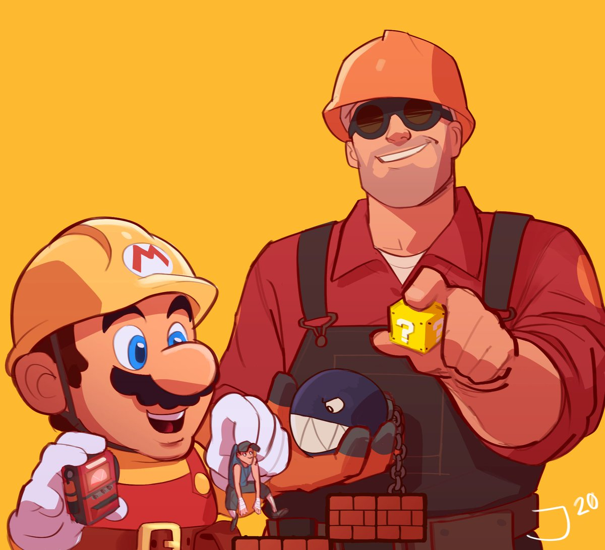 ?_block chain_chomp collared_shirt dispenser_(team_fortress) english_commentary facial_hair flapdoodlez giant goggles hardhat helmet mario super_mario_bros. mustache overalls red_shirt shirt simple_background size_difference smile super_mario_maker team_fortress_2 the_engineer the_scout yellow_background