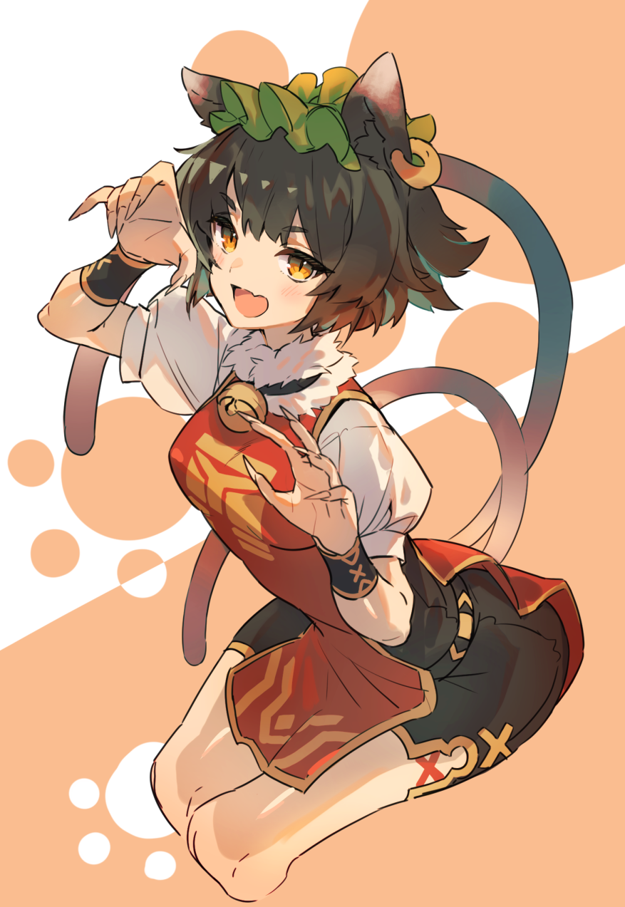 1girl :d animal_ears bell breasts brown_eyes brown_hair cat_ears cat_tail chen claw_pose cropped_legs dress earrings fang fur_trim gold_trim hat highres jewelry jingle_bell light_blush medium_breasts mob_cap multiple_tails nekomata open_mouth orange_background red_dress short_hair simple_background single_earring skin_fang smile solo tabard tail touhou two_tails u_u_zan