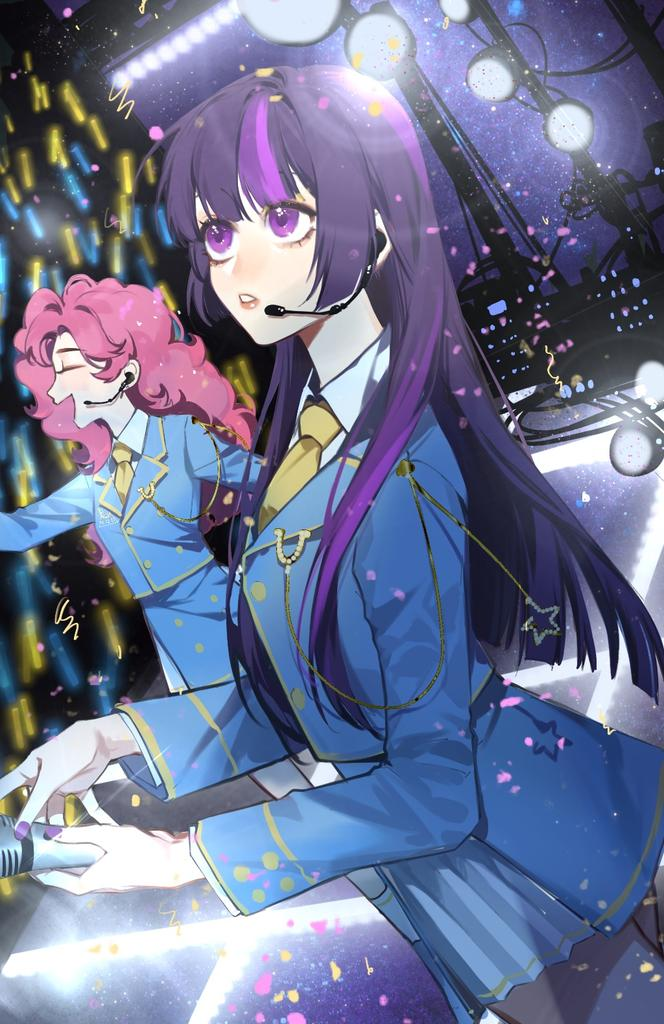 2girls bangs blunt_bangs collared_shirt concert glowstick hime_cut holding holding_microphone idol idol_clothes long_hair microphone multicolored_hair multiple_girls music my_little_pony my_little_pony_friendship_is_magic necktie personification pinkie_pie purple_hair shirt singing stage stage_lights streaked_hair twilight_sparkle violet_eyes xieyanbbb