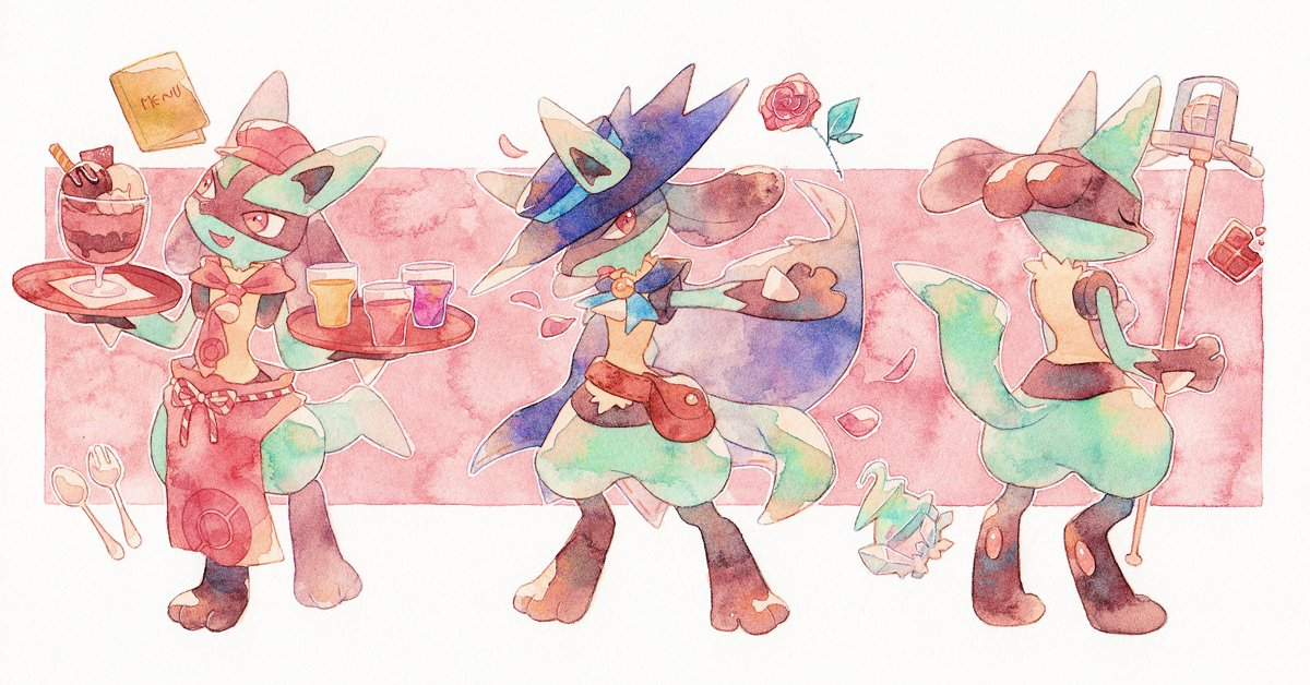 apron bag blue_headwear cup dessert flower food fork gen_4_pokemon glass hatted_pokemon holding holding_tray liquid lucario oharu-chan outstretched_arm petals pokemon pokemon_(creature) pokemon_cafe_mix red_flower red_headwear spikes spoon standing tray waist_apron