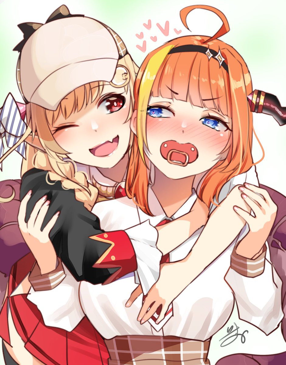 2girls ahoge alternate_eye_color asymmetrical_hair bangs black_jacket blonde_hair blue_eyes blunt_bangs blush braid breasts brooch brown_headwear brown_skirt collared_shirt commentary cosplay costume_switch deerstalker diagonal-striped_bow dragon_horns dragon_tail eyebrows_visible_through_hair fang hairband hand_on_another's_arm hat heart highres hololive hololive_english horns hug hug_from_behind isuka jacket jewelry kiryu_coco long_hair looking_at_another looking_back looking_to_the_side magnifying_glass medium_breasts miniskirt multicolored_hair multiple_girls necktie one_eye_closed open_mouth orange_hair pacifier plaid plaid_skirt pleated_skirt red_eyes red_neckwear red_skirt shirt shirt_tucked_in side_braid signature simple_background skin_fang skirt smile streaked_hair tail two-tone_hair upper_body virtual_youtuber watson_amelia white_background white_shirt wing_collar