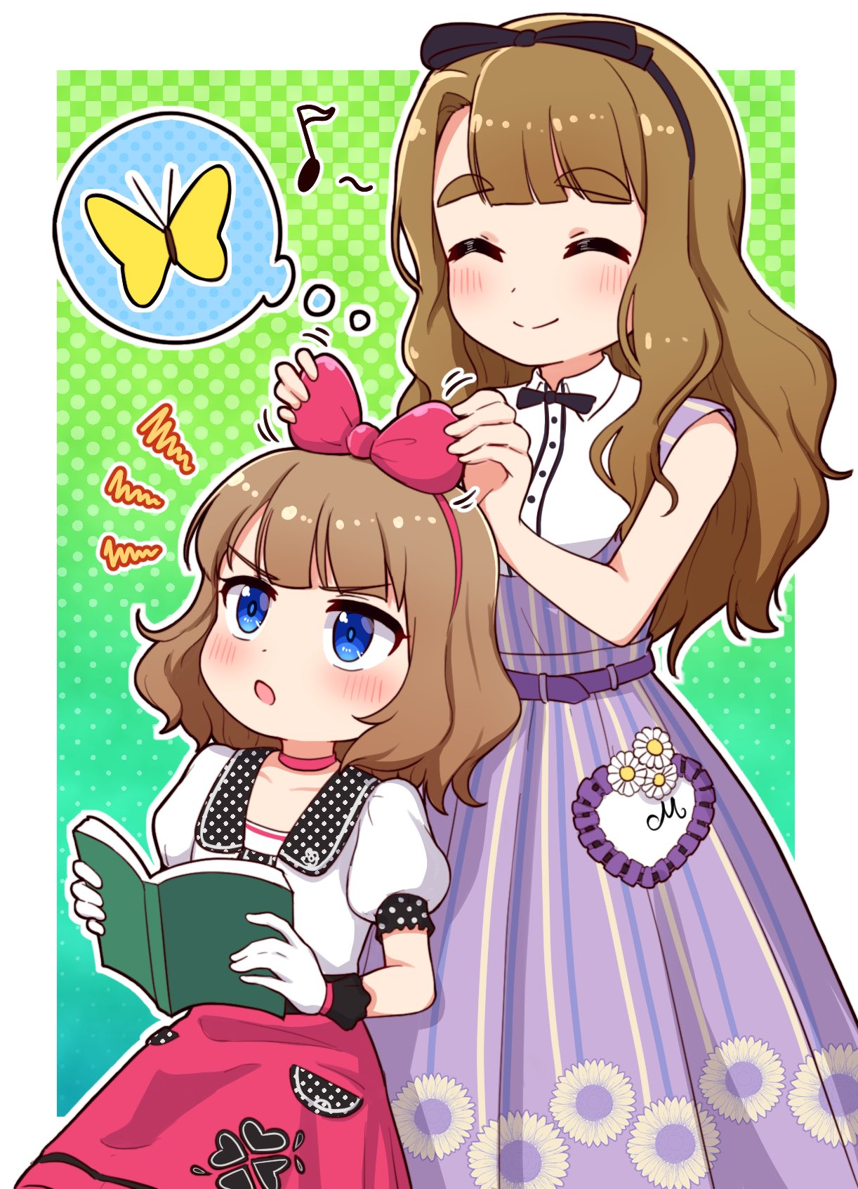 2girls :o ^_^ bangs black_bow black_hairband blue_eyes blush book bow brown_hair bug butterfly closed_eyes closed_mouth collared_shirt commentary_request dress eighth_note eyebrows_visible_through_hair flower gloves green_background hair_bow hairband halftone halftone_background heart highres holding holding_book idolmaster idolmaster_million_live! idolmaster_million_live!_theater_days insect long_hair miyao_miya multiple_girls musical_note open_book open_mouth outline pleated_dress polka_dot puffy_short_sleeves puffy_sleeves purple_dress red_bow red_hairband red_skirt shirt short_sleeves skirt smile spoken_animal suou_momoko takiki thick_eyebrows v-shaped_eyebrows very_long_hair white_flower white_gloves white_outline white_shirt