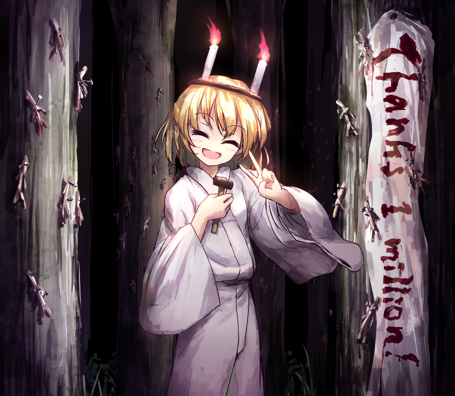 1girl alternate_costume bangs blonde_hair breasts candle commentary_request cowboy_shot english_text eyebrows_visible_through_hair fire flame half_updo hashihime isu_(is88) japanese_clothes kimono mallet milestone_celebration mizuhashi_parsee nail open_mouth pointy_ears short_hair small_breasts solo touhou v waraningyou white_kimono wide_sleeves |d