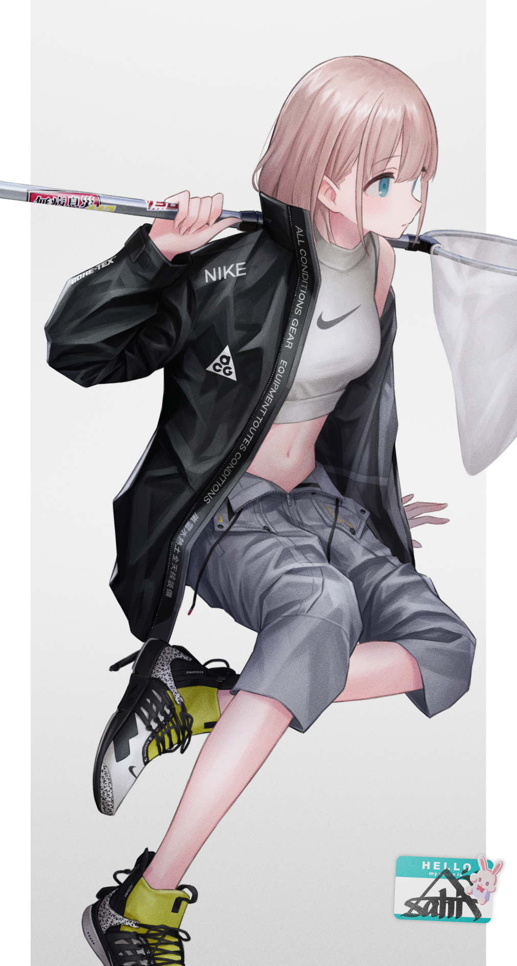 1girl 3mptydays arm_support bangs black_jacket blue_eyes breasts butterfly_net buttons character_name closed_mouth clothes_writing crop_top cross-laced_footwear drawstring eyebrows_visible_through_hair fingernails foot_out_of_frame grey_background grey_shorts hair_behind_ear hair_between_eyes hand_net hand_up high_collar highres holding_butterfly_net idolmaster idolmaster_shiny_colors invisible_chair jacket leg_up light_brown_hair long_sleeves looking_away medium_breasts midriff name_tag navel nike off_shoulder open_clothes open_fly open_jacket open_shorts outside_border pillarboxed print_footwear print_shirt serizawa_asahi shiny shiny_hair shirt shoes short_hair shorts sidelocks simple_background single_bare_shoulder sitting sleeveless sleeveless_shirt sneakers solo stomach two-tone_footwear unzipped white_footwear white_shirt yellow_footwear