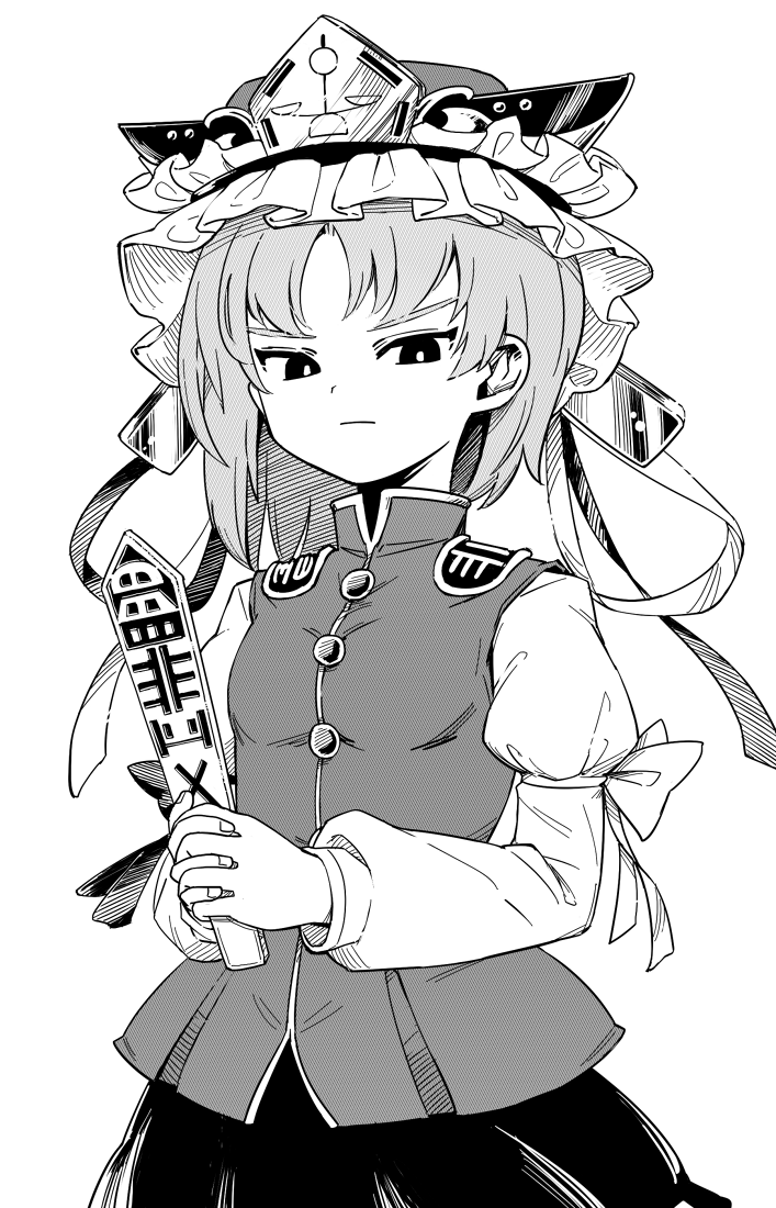 1girl asymmetrical_hair balance_scale bangs closed_mouth cowboy_shot epaulettes frilled_hat frills greyscale half-closed_eyes hands_together hat holding juliet_sleeves long_sleeves looking_at_viewer maguro_(mawaru_sushi) monochrome puffy_sleeves rod_of_remorse shiki_eiki short_hair simple_background skirt solo standing touhou v-shaped_eyebrows vest weighing_scale
