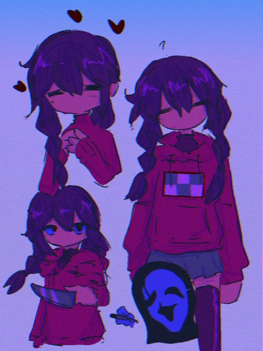 1girl ? arms_at_sides bangs black_legwear blue_background braid brown_eyes closed_eyes colored_sclera commentary feet_out_of_frame glitch gradient gradient_background hair_between_eyes hands_together hanekou1118 head_tilt heart holding holding_knife holding_weapon hood hoodie knife long_sleeves madotsuki multiple_views no_mouth noise pink_hoodie purple_sclera purple_shirt shiny shiny_clothes shiny_hair shiny_legwear shirt skirt thigh-highs turtleneck twin_braids uboa upper_body weapon yume_nikki